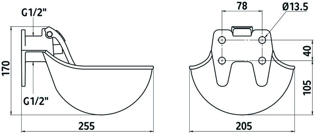 ابعاد آبخوریهای اتوماتیک دام کربل با مکانیزم زبانهای استیل (KERBL metal water bowl dimension)