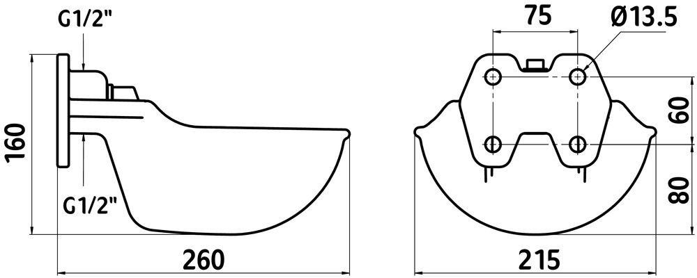 ابعاد آبخوری اسب و گاو کربل با مکانیزم میلهای KERBL Water Bowl G51 Dimensions